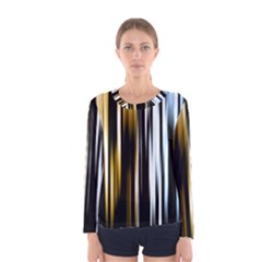 Digitally Created Striped Abstract Background Texture Women s Long Sleeve Tee by Simbadda