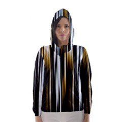 Digitally Created Striped Abstract Background Texture Hooded Wind Breaker (Women)