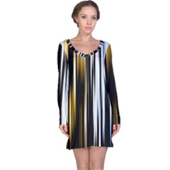 Digitally Created Striped Abstract Background Texture Long Sleeve Nightdress