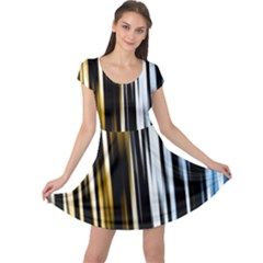 Digitally Created Striped Abstract Background Texture Cap Sleeve Dresses