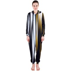 Digitally Created Striped Abstract Background Texture Hooded Jumpsuit (Ladies)