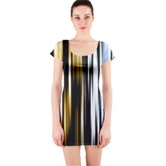 Digitally Created Striped Abstract Background Texture Short Sleeve Bodycon Dress