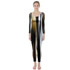 Digitally Created Striped Abstract Background Texture Long Sleeve Catsuit