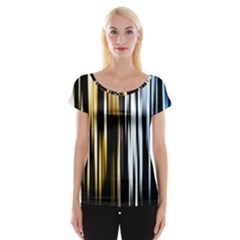 Digitally Created Striped Abstract Background Texture Women s Cap Sleeve Top