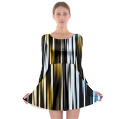 Digitally Created Striped Abstract Background Texture Long Sleeve Skater Dress