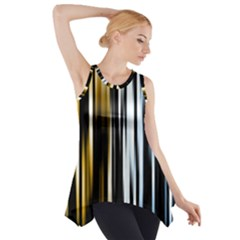 Digitally Created Striped Abstract Background Texture Side Drop Tank Tunic