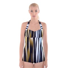 Digitally Created Striped Abstract Background Texture Boyleg Halter Swimsuit