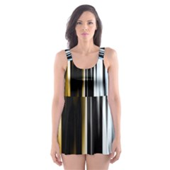 Digitally Created Striped Abstract Background Texture Skater Dress Swimsuit