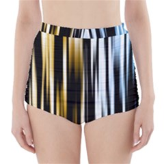 Digitally Created Striped Abstract Background Texture High-Waisted Bikini Bottoms