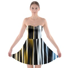 Digitally Created Striped Abstract Background Texture Strapless Bra Top Dress