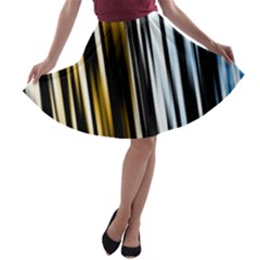 Digitally Created Striped Abstract Background Texture A-line Skater Skirt