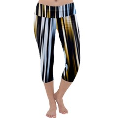Digitally Created Striped Abstract Background Texture Capri Yoga Leggings