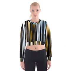 Digitally Created Striped Abstract Background Texture Women s Cropped Sweatshirt
