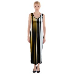 Digitally Created Striped Abstract Background Texture Fitted Maxi Dress