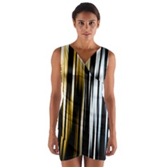 Digitally Created Striped Abstract Background Texture Wrap Front Bodycon Dress