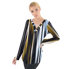 Digitally Created Striped Abstract Background Texture Women s Tie Up Tee