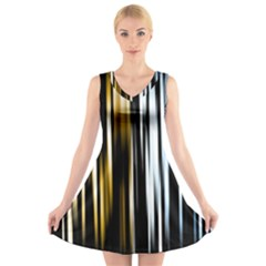 Digitally Created Striped Abstract Background Texture V-Neck Sleeveless Skater Dress