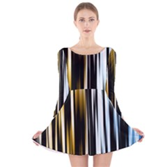 Digitally Created Striped Abstract Background Texture Long Sleeve Velvet Skater Dress