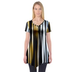 Digitally Created Striped Abstract Background Texture Short Sleeve Tunic