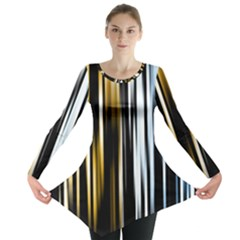 Digitally Created Striped Abstract Background Texture Long Sleeve Tunic