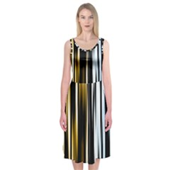 Digitally Created Striped Abstract Background Texture Midi Sleeveless Dress