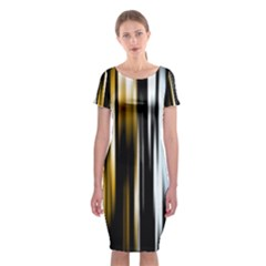 Digitally Created Striped Abstract Background Texture Classic Short Sleeve Midi Dress