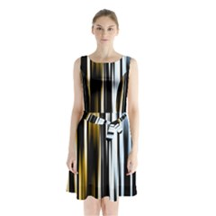 Digitally Created Striped Abstract Background Texture Sleeveless Chiffon Waist Tie Dress