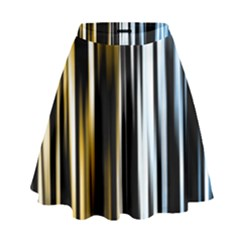 Digitally Created Striped Abstract Background Texture High Waist Skirt