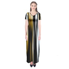 Digitally Created Striped Abstract Background Texture Short Sleeve Maxi Dress
