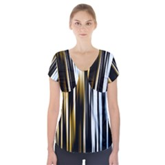 Digitally Created Striped Abstract Background Texture Short Sleeve Front Detail Top
