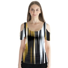 Digitally Created Striped Abstract Background Texture Butterfly Sleeve Cutout Tee