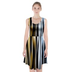 Digitally Created Striped Abstract Background Texture Racerback Midi Dress