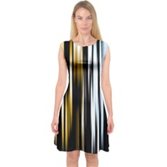 Digitally Created Striped Abstract Background Texture Capsleeve Midi Dress