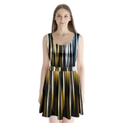 Digitally Created Striped Abstract Background Texture Split Back Mini Dress