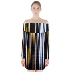 Digitally Created Striped Abstract Background Texture Long Sleeve Off Shoulder Dress