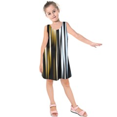 Digitally Created Striped Abstract Background Texture Kids  Sleeveless Dress
