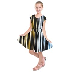 Digitally Created Striped Abstract Background Texture Kids  Short Sleeve Dress