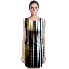 Digitally Created Striped Abstract Background Texture Sleeveless Velvet Midi Dress