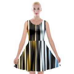 Digitally Created Striped Abstract Background Texture Velvet Skater Dress