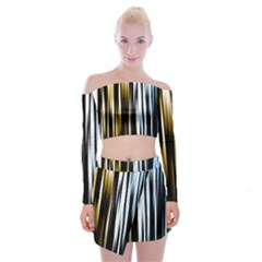 Digitally Created Striped Abstract Background Texture Off Shoulder Top with Skirt Set
