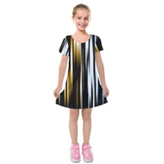 Digitally Created Striped Abstract Background Texture Kids  Short Sleeve Velvet Dress