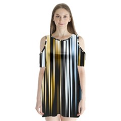 Digitally Created Striped Abstract Background Texture Shoulder Cutout Velvet  One Piece