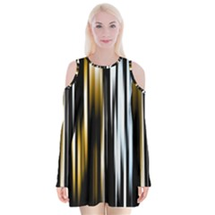 Digitally Created Striped Abstract Background Texture Velvet Long Sleeve Shoulder Cutout Dress