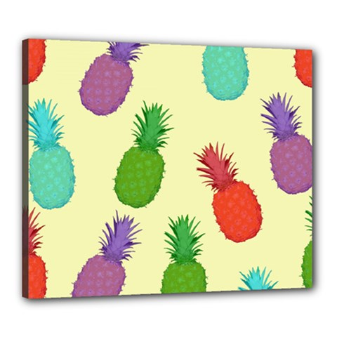 Colorful Pineapples Wallpaper Background Canvas 24  X 20  by Simbadda