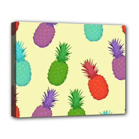 Colorful Pineapples Wallpaper Background Deluxe Canvas 20  X 16   by Simbadda