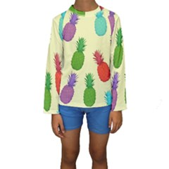 Colorful Pineapples Wallpaper Background Kids  Long Sleeve Swimwear by Simbadda