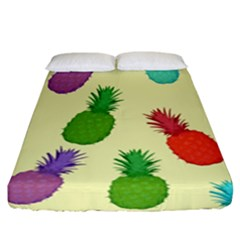 Colorful Pineapples Wallpaper Background Fitted Sheet (california King Size)