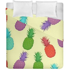 Colorful Pineapples Wallpaper Background Duvet Cover Double Side (california King Size)