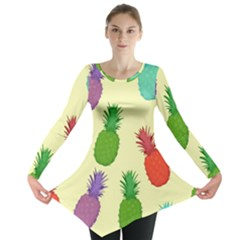 Colorful Pineapples Wallpaper Background Long Sleeve Tunic  by Simbadda