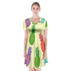 Colorful Pineapples Wallpaper Background Short Sleeve V Neck Flare Dress